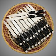 "Antique French 12pc Sterling Silver & Ebony Handle 8"" Dessert or Cheese Knife Set"