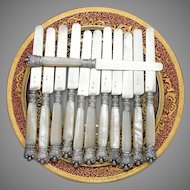 Elegant Antique French .800 (nearly sterling) Silver & Mother of Pearl Dessert or Cheese Knife Set
