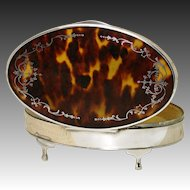 LG Antique English Sterling Silver & Shell Jewelry or Desk Casket - Faux Tortoiseshell
