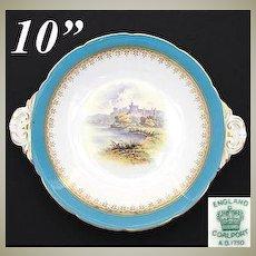 """Antique Coalport 10"""" Cake or Pie Dish, Windsor Castle Scene"""