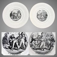Antique French Faience Cabinet Plate Pair, Children at Play, Choisy le Roi