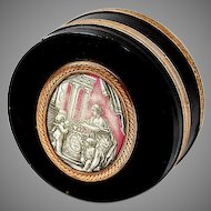 Antique Snuff Box, Grizaille Enamel Plaque, 15K, Cupid - Hallmarks and tested. Superb!