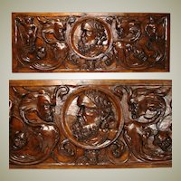 "1650-1800 Renaissance Revival Carved 31"" Architectural Plaque, Grotesques & Putti"