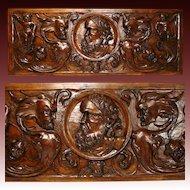 "1650-1800 Renaissance Revival Carved 31"" Architectural Plaque, Grotesques & Putti"
