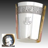 """Fine Vintage French .800 (nearly sterling) Silver Wine Cup, Tumbler or """"Timbale"""": Children at Play"""