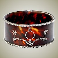 "Antique Victorian to Edwardian Faux Tortoise Shell, Silver Pique Bangle Bracelet, ""R"""