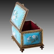 Fine Antique French 19th C. Kiln-fired Enamel Jewelry Casket, TAHAN, Sevres