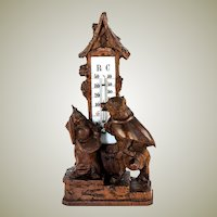 Antique Hand Carved Black Forest Fox, Fables of Fontaine or Aesop's,  Animalier, Fox and Hare