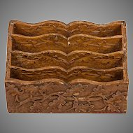 Antique Black Forest Hand Carved Wooden Stationery Caddy, Oak Leaf & Acorn