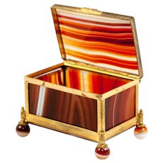 "2 3/8"" Antique Idar - Oberstein Agate Specimen Box, Casket in Dore Bronze Frame,  Banded Agate Jewelry Box Casket"