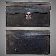 """Antique French Leather Notary's Folio, Gold Embossed, 13"""" x  7.25"""""""