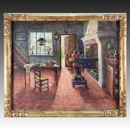 """A. Stockman"" Antique Oil Painting, Impressionist Interior of a Dutch Kitchen, in Frame"