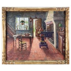 """""""A. Stockman"""" Antique Oil Painting, Impressionist Interior of a Dutch Kitchen, in Frame"""