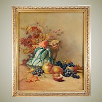 "Antique French Oil Painting, Still Life, Signed, c.1917, Frame 24"" x 21"""