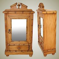 Antique Napoleon III Era French Miniature Armoire, Chinoiserie Style Bamboo, Doll Size