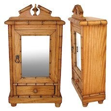 Antique Napoleon III Era French Miniature Armoire, Chinoiserie Style Bamboo, Doll Size