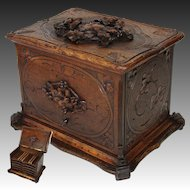 "Antique Hand Carved Black Forest 13"" Cigar Chest, Box, Server - 5 Trays for 60 Cigars Total"