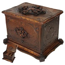 """Antique Hand Carved Black Forest 13"""" Cigar Chest, Box, Server - 5 Trays for 60 Cigars Total"""