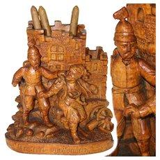 """Antique Victorian Era Black Forest Carved Smoker's Stand, Police Gendarme & Thief, """"Weisenburg - 1870"""""""