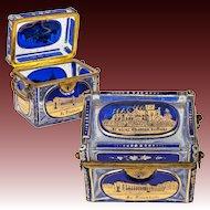 Superb Antique Bohemian Glass Sugar Casket, Moser Box, 5 Engraved Grand Tour Souvenir Views