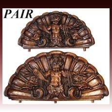 RARE Antique Victorian Era Carved Oak Cornice or 'Fonton' PAIR, Majestic Grotesque Figures on Seashell Backings