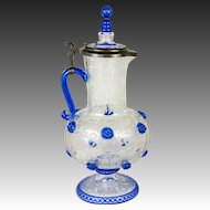 "Fine 19th C. Bohemian Engraved Glass 12"" Claret Jug, Decanter, Pewter Lid - Moser"
