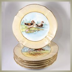 """Antique H.P. French M. Redon Limoges 8.75"""" Diam Game Bird Plate Set, Gold"""