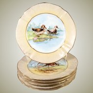 "Antique H.P. French M. Redon Limoges 8.75"" Diam Game Bird Plate Set, Gold"