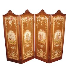 "RARE Antique French Carved Walnut 73"" 4-Panel Folding Privacy or Dressing Screen, Figural Needlepoint Panels"