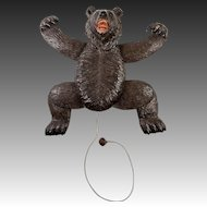 RARE Antique Hand Carved Black Forest Dancing Bear, Mechanical with String Pull