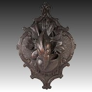 "Fine Antique Hand Carved Black Forest ""Fruits of the Hunt"" 15.75"" Wall Plaque, Match or Spill Holder"