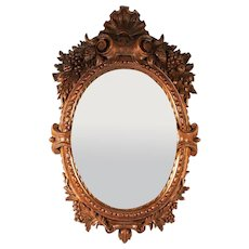 Superb Antique Hand Carved French or Black Forest Mirror Frame, Elaborate & Lovely, 14.5""
