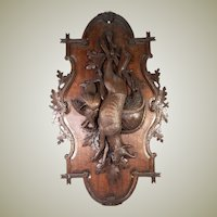 Antique Hand Carved Black Forest Stag & Fowl Head Wall Plaque, Fruits of the Hunt, 25""