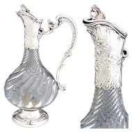 "Elegant Antique French Sterling Silver & Cut Glass 12"" Claret Jug, Rococo Styling & Spiral Cut Body"