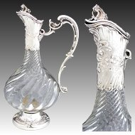 "Elegant Antique French Sterling Silver & Cut Glass 12"" Claret Jug, Rococo Styling & Spiral Cut Body"