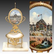 Antique 1878 Paris Expo Souvenir Pocket Watch Stand, a Miniature Chair, Palais du Champ de Mars