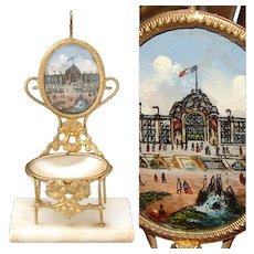 Antique 1878 Paris Expo Souvenir Pocket Watch Stand, a Miniature Chair, Palais du Champ de Mars