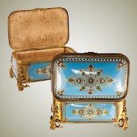 TAHAN, Paris: Antique Bressan or Severs Kiln-fired Enamel Jewelry Box, Casket