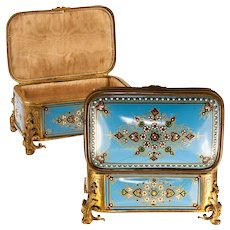 TAHAN, Paris: Antique Bressan or Severs Kiln-fired Enamel Jewelry Box, Casket