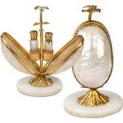 "Antique French Scent Caddy, Perfume Flasks in Mother of Pearl ""egg"" Mechanical Holder, Stand #2"