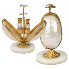 """Antique French Scent Caddy, Perfume Flasks in Mother of Pearl """"egg"""" Mechanical Holder, Stand #2"""