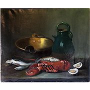 "Superb Antique French Oil Painting, Still Life with Fish, Lobster, Copper Pot, c.1800s  25.75"" x 21.25"""