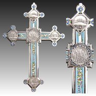 "Lg Antique Italian Grand Tour Era Micro Mosaic 8.25"" Crucifix, Souvenir Architectural Medallions"