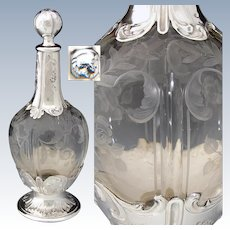 "Gorgeous Antique French Sterling Silver & Intaglio Crystal 9.5"" Decanter, Louis XVI Style"