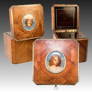 RARE Antique French Tea Caddy, Portrait Miniature Napoleon's Son, TAHAN, Paris