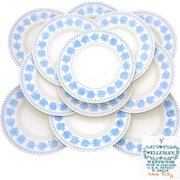 "Lovely Vintage Wedgwood 12pc 9.5"" Dinner Plate Set, Wellesley Blue & White Pattern, 1934 Patent Mark"