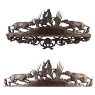 "Antique Black Forest Hand Carved Pipe or Spoon Rack, 18"", 2 Dogs, Hounds and a Hare"