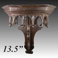 """Antique French Hand Carved 13.5"""" Gothic Bracket for Clock, or Wall Shelf"""