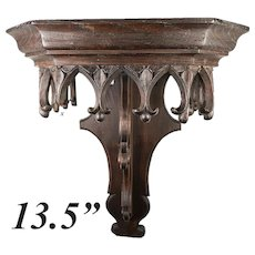"Antique French Hand Carved 13.5"" Gothic Bracket for Clock, or Wall Shelf"