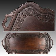"Vintage to Antique Hand Carved 23.5"" Service Tray with Handles, Chinoise, Oriental"